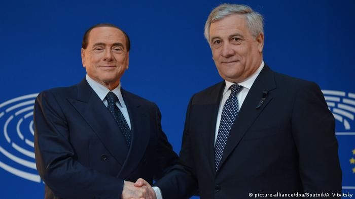 Silvio Berlusconi and EU Parlament president Antonio Tajani (picture-alliance/dpa/Sputnik/A. Vitvitsky)