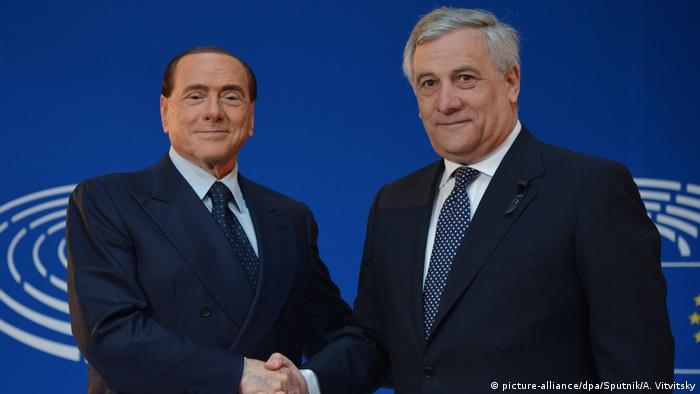 Берлусконі (л) і Таяні в Європарламенті, січень 2017 року