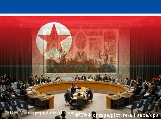 Symbolic photo of UN Security Council meeting superimposed with North Korean flag