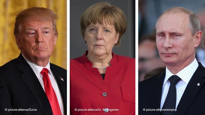 Bildkombo Trump, Merkel, Putin