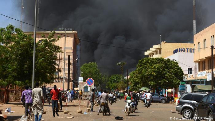 Zona atacada na capital Ouagadougou
