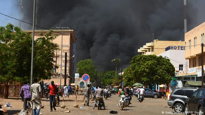 An explosion after a terrorist attack in Ouagadougou, Burkina Faso