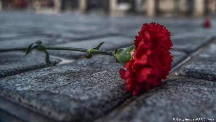 A red carnation on a sidewalk