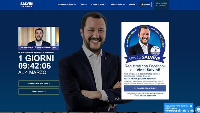 Screenshot of Matteo Salvini's website
