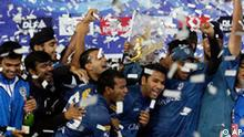 Deccan Chargers players celebrates defeating the Royal Challengers Bangalore on the final of the Indian Premier League Twenty20 cricket match at the Wanderers stadium in Johannesburg, South Africa, Sunday May 24, 2009. Deccan Chargers won by 6 runs. (AP Photo/ Themba Hadebe)