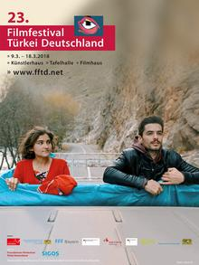 Poster for the 23rd German turkish film festival, film stillm shows a man and a woman