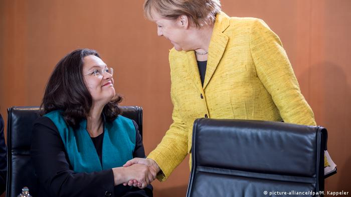 Kanzlerin Angela Merkel und SPD-Chefin Andrea Nahles in Berlin