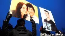 Participants hold banners with portraits in honour of murdered Slovak investigative reporter Jan Kuciak and his girlfriend Martina Kusnirova in Bratislava, Slovakia, March 2, 2018. REUTERS/Radovan Stoklasa