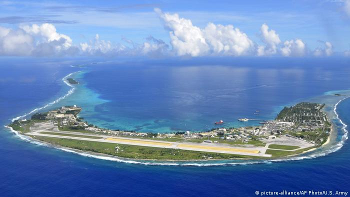 An aerial view of Kwajalein Atoll