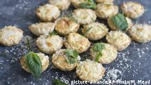 This Feb. 3, 2014 photo shows anti-gravity goat cheese phyllo bites in Concord, N.H. Each of these little guys is fairly low in calories _ no more than 15 calories per shell. (AP Photo/Matthew Mead) |