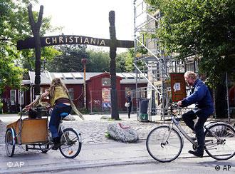 The entrance of Christiania in Copenhagen, Tuesday, May 26, 2009