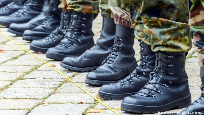 Soldiers' boots lined up
