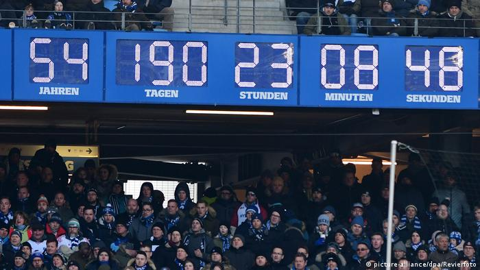Hamburg's stadium clock, showing the time the club has been in the Bundesliga without facing relegation. It's ticking on towards 55 years now, but will it get there?