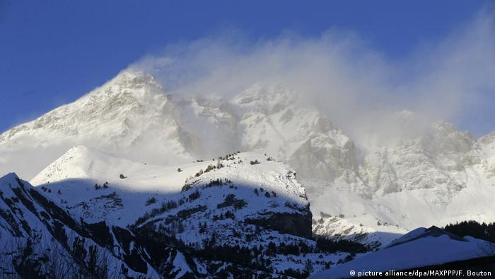 Snowy French mountains