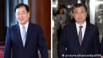 Kombobild Südkoreas Präsident schickt Sondergesandte nach Nordkorea (picture-alliance/dpa/YNA)