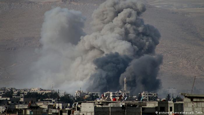 Smoke rises after Assad Regime's airstrike hit residential areas in Eastern Ghouta, Damascus, Syria
