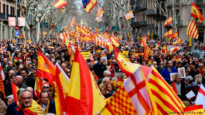 Spanien Barcelona - Demonstration für die Einheit Spaniens (Getty Images/AFP/J. Lago)