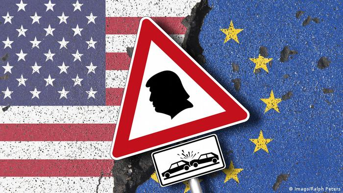 EU, US flags and a traffic sign showing Donald Trump
