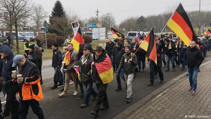 Right-wing protesters in Kandel