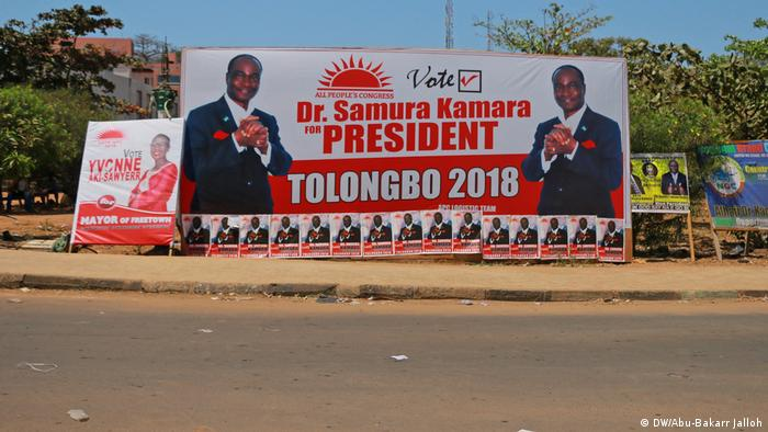 A campaign poster for Samura Kamara during the 2018 Sierra Leone election