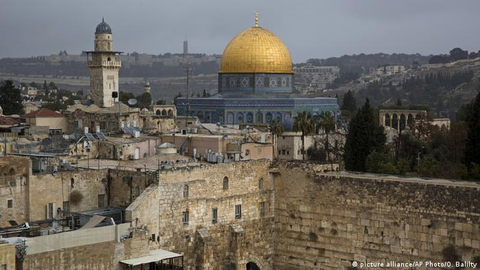 A view of the Western Wall and the Dome of the Rock.