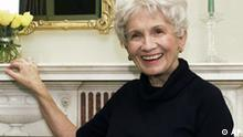 FILE - In this Oct. 28, 2002 file photo, Canadian author Alice Munro poses for a photograph at the Canadian Consulate's residence in New York. Munro, the revered Canadian short story writer, has won the Man Booker International Prize, Tuesday May 26, 2009. The prize is awarded every two years to a living author for a body of work that has contributed to an achievement in fiction on the world stage. (AP Photo/Paul Hawthorne, File)