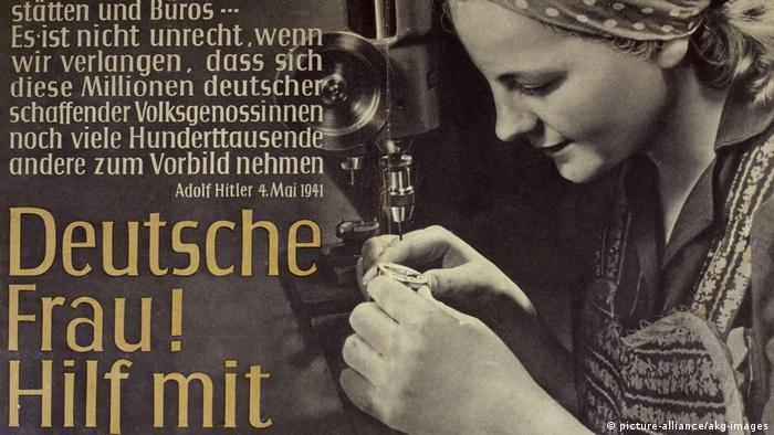 German woman on a propaganda poster 'German woman! Help!' (picture-alliance/akg-images)