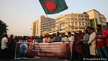 Bangladesch Messerangriff auf Muhammed Zafar Iqbal | Proteste in Dhaka (Imago/Zuma Press)