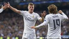 March 8, 2016 - Madrid, Spain - Toni Kroos (midfielder; Real Madrid), Luka Modric (midfielder; Real Madrid) in action during the UEFA Champions League, round of 8 match between Real Madrid and Associazione Sportiva Roma at Santiago Bernabeu on March 8, 2016 in Madrid |