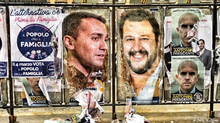 Italien Wahl | Plakate Wahlsieger Luigi Di Maio & Matteo Salvini