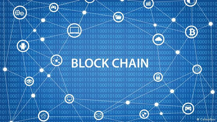 Blue screen with the inscription blockchain