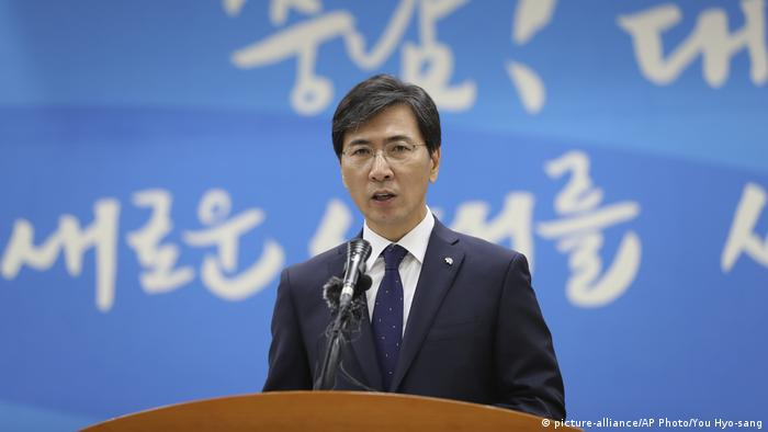 Ahn Hee-jung, governor of South Chungcheong Province, speaks during a press conference