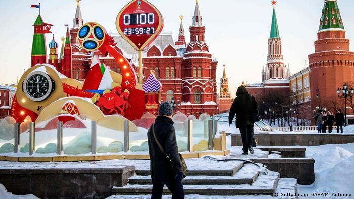 Cronômetro na Praça Vermelha, em Moscou, faz a contagem regressiva para o Mundial