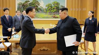 Kim Jong Un, Güney Kore delegasyonu ile birlikte