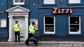 The Zizzi pizza restaurant where the two ate has been cordoned off. (Reuter/T. Melville)