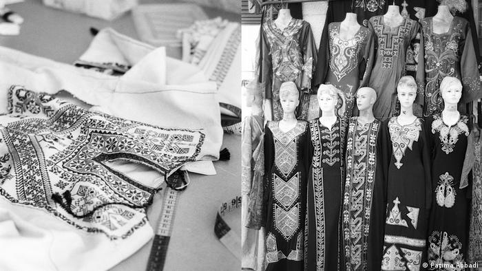 A nearly-finished tatreez on a table and mannequins presenting traditional dresses (Fatima Abbadi)
