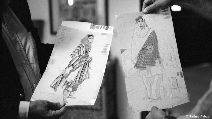 Sketches of traditional Palestinian dresses (Fatima Abbadi)