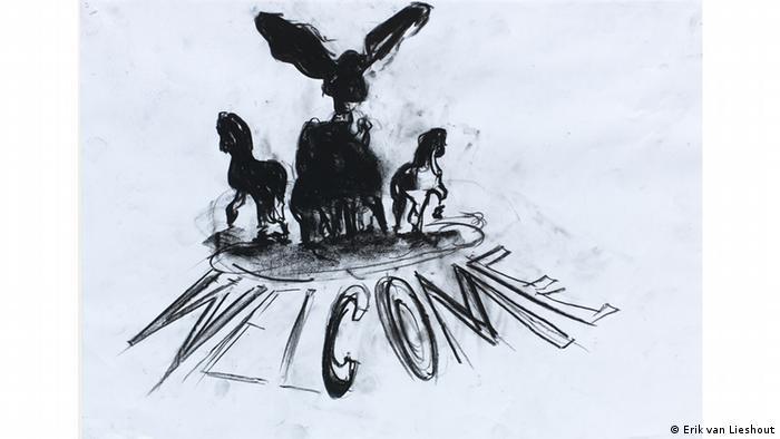 A drawing from Erik van Lieshout's series Untitled (The Island) (2015) (Erik van Lieshout)