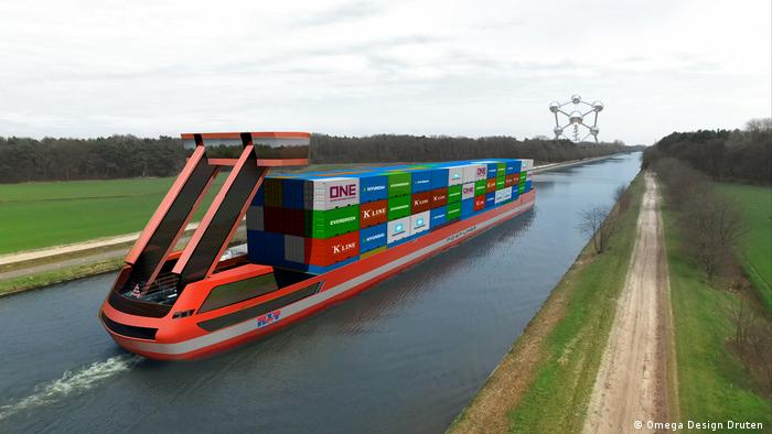 A rendering of Port Liner's electric barge
