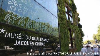 The green facade of Musée du quai Branly – Jacques Chirac in Paris, France.