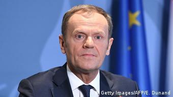 Luxemburg - Donald Tusk bei Pressekonferenz zum post-Brexit in Sennigen