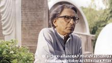 This photo provided by The Pritzker Architecture Prize shows Balkrishna Doshi of India winner of the 2018 Pritzker Architecture Prize, the highest honor in the field, announced Wednesday, March 7, 2018. Among Doshi's achievements: the Aranya low-cost housing project in Indore, which accommodates over 80,000 people through a system of houses, courtyards and internal pathways. (Courtesy of The Pritzker Architecture Prize/Vastushilpa Foundation via AP)  