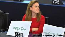 MEP Terry Reintke with a #metoo sign (Getty Images/AFP/P. Hertzog)