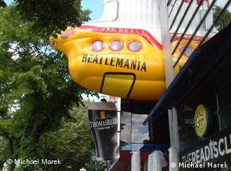 The Beatles' yellow submarine above the Hamburg museum