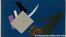 ***Das Pressebild darf nur in Zusammenhang mit einer Berichterstattung über die Ausstellung verwendet werden*** Olga Rozanowa, Kampf von Avenirist mit dem Ozean, aus der Serie Der Universelle Krieg, 1916, Transparentpapier, farbiges Papier und Stoff, 21,1 x 29,8 cm