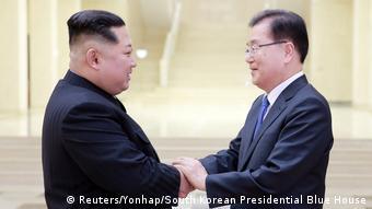 Nordkorea Kim Jong Un mit südkoreanischer Delegation