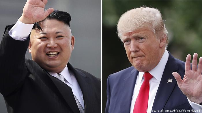 Bildkombo Kim Jong Un und Donald Trump (picture-alliance/AP/dpa/Wong Maye-E)