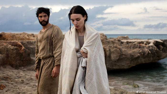 Film still from 'Mary Magdalene' showing her with Judas (2018 Universal Studios)