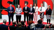 Andrea Nahles and Olaf Scholz unveil SPD ministers in Berlin (Reuters/H. Hanschke)