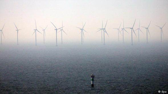 Ein offshore Windpark aus der Vogelperspektive (Foto: dpa)